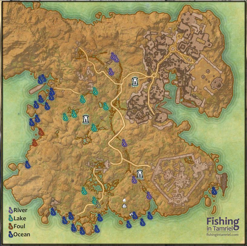 Hews bane fishing map fishing in tamriel for Fishing guide eso
